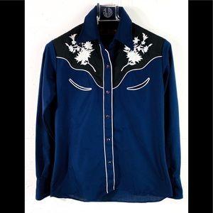 western snap front shirt Tem Tex vintage 30 blue
